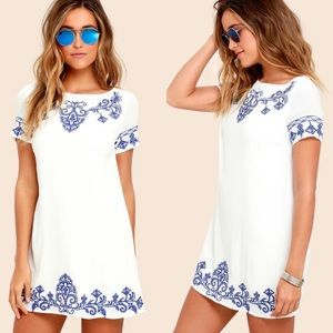 Lulus Tale To Tell white embroidered boho dress